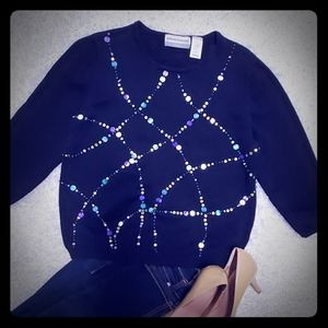 Alfred Dunner Blue Beaded Pattern Sweater